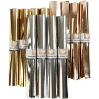 Papel imitación cuero, A: 49 cm, grosor 0,55 mm, una cara de color,detalle metalizado, dorado, dorado rosado, plata, 12x1 m/ 1 paquete