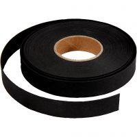 Tiras de tejido, A: 15 mm, grosor 0,55 mm, negro, 9,5 m/ 1 rollo