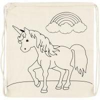Mochila, Unicornio , medidas 37x41 cm, 110 gr, color natural claro, 1 ud
