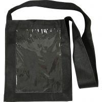 Bolsa con frente plástico, medidas 40x34x8 cm, negro, 1 ud