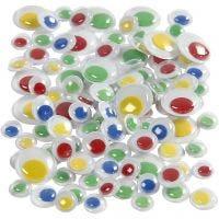 Ojos saltarines, sin adhesivo, dia: 8+10+14 mm, 300 stdas/ 1 paquete