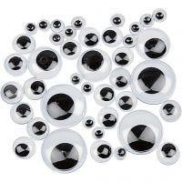 Ojos móviles, sin adhesivo, dia: 4-20 mm, 1100 stdas/ 1 paquete
