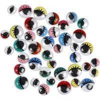 Ojos móviles - Surtido, sin adhesivo, dia: 8-12 mm, 300 stdas/ 1 paquete