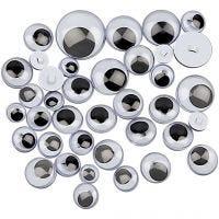 Ojos móviles - Surtido, costura, dia: 8-20 mm, 250 stdas/ 1 paquete