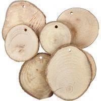Discos de madera con agujero, dia: 40-70 mm, medida agujero 4 mm, grosor 5 mm, 25 ud/ 1 paquete