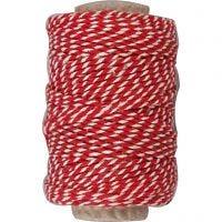 Cordón de algodón, grosor 1,1 mm, rojo / blanco, 50 m/ 1 rollo