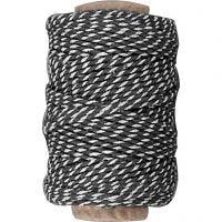 Cordón de algodón, grosor 1,1 mm, negro/blanco, 50 m/ 1 rollo