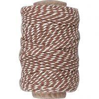 Cordón de algodón, grosor 1,1 mm, marrón/blanco, 50 m/ 1 rollo