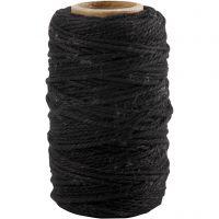 Cordón de algodón, grosor 1,1 mm, negro, 50 m/ 1 rollo
