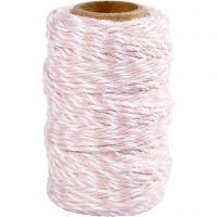 Cordón de algodón, grosor 1,1 mm, blanco/rojo claro, 50 m/ 1 rollo