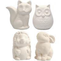 Hucha animal, Búho, zorro, erizo, liebre, A: 9-10 cm, blanco, 4 ud/ 1 caja