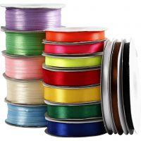 Cinta de satén- surtido, surtido de colores, 15 rollo/ 1 paquete