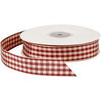 Cinta a cuadros, A: 20 mm, rojo antiguo/blanco, 25 m/ 1 rollo