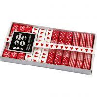 Surtido de cintas, A: 10 mm, rojo / blanco, 12x1 m/ 1 paquete