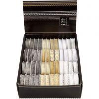 Cinta decorada, A: 5-10 mm, dorado, plata, blanco, 48x2 m/ 1 paquete