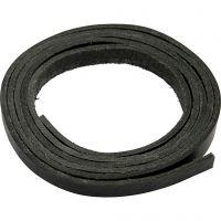 Correa de piel, A: 10 mm, grosor 3 mm, negro, 2 m/ 1 paquete
