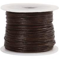 Cordón de cuero, grosor 1 mm, marrón, 50 m/ 1 rollo