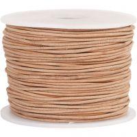 Cordón de cuero, grosor 1 mm, beige, 50 m/ 1 rollo