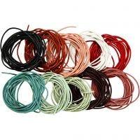 Cordón de cuero, grosor 2 mm, surtido de colores, 10x3 m/ 1 paquete
