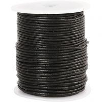 Cordón de cuero, grosor 2 mm, negro, 50 m/ 1 rollo