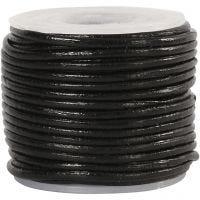 Cordón de cuero, grosor 1 mm, negro, 10 m/ 1 rollo