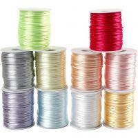 Cuerda satinada, grosor 2 mm, colores pastel, 10x50 m/ 1 paquete