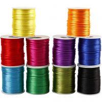 Cuerda satinada, grosor 2 mm, colores fuertes, 10x50 m/ 1 paquete