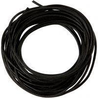 Cordon de cuero, grosor 2 mm, negro, 4 m/ 1 rollo