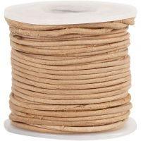 Cordón de cuero, grosor 1 mm, natural, 10 m/ 1 rollo