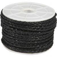 Cordón trenzado, grosor 2,5 mm, negro, 25 m/ 1 rollo