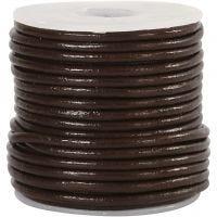 Cordón de cuero, grosor 2 mm, marrón, 10 m/ 1 rollo