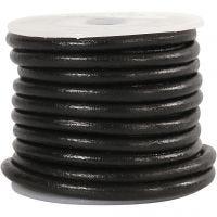 Cordón de cuero, grosor 4 mm, negro, 5 m/ 1 rollo