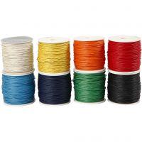Cordón de algodón, grosor 1 mm, surtido de colores, 8x40 m/ 1 paquete