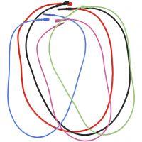 Collar elástico con cierre, L. 46 cm, grosor 1,65 mm, surtido de colores, 5 stdas/ 1 paquete