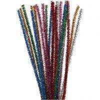 Limpiador de tubo, L. 30 cm, grosor 6 mm, purpurina, colores fuertes, 24 ud/ 1 paquete