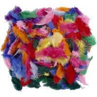 Plumas, medidas 7-8 cm, surtido de colores, 50 gr/ 1 paquete