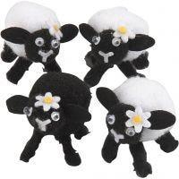 Corderos de Pascua, A: 35 mm, negro, blanco, 4 ud/ 1 paquete