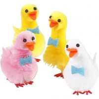 Patos de Pascua, A: 50 mm, rojo claro, blanco, amarillo, 4 ud/ 1 paquete