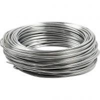 Alambre de aluminio, redondo, grosor 3 mm, plata, 29 m/ 1 rollo