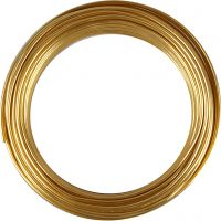 Alambre de aluminio, redondo, grosor 3 mm, dorado, 29 m/ 1 rollo