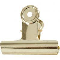 Clip de bulldog metálico, A: 7,5 cm, latón, 6 ud/ 1 paquete