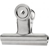 Clip de bulldog metálico, A: 7,5 cm, plata, 6 ud/ 1 paquete