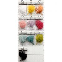 Plumas artificiales, L. 15 cm, A: 8 cm, surtido de colores, 10x10 paquete/ 1 paquete