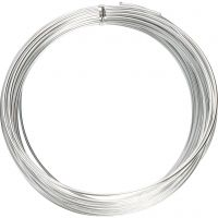 Alambre de aluminio, redondo, grosor 2 mm, plata, 10 m/ 1 rollo