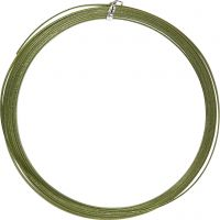 Alambre de aluminio, plano, A: 3,5 mm, grosor 0,5 mm, verde, 4,5 m/ 1 rollo