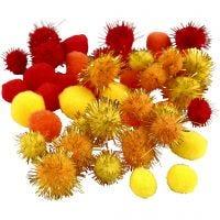 Pompones, dia: 15+20 mm, naranja, rojo, amarillo, 48 stdas/ 1 paquete