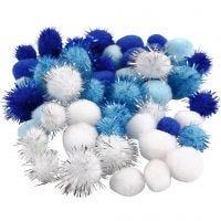 Pompones, dia: 15+20 mm, azul claro, azul oscuro, blanco, 48 stdas/ 1 paquete