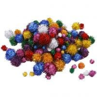 Pompones brillantes, dia: 15-40 mm, purpurina, colores fuertes, 62 gr/ 1 paquete