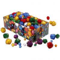 Pompones brillantes, dia: 15-40 mm, purpurina, colores fuertes, 400 gr/ 1 paquete