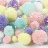 Pompones, dia: 15-40 mm, purpurina, colores pastel, 62 gr/ 1 paquete